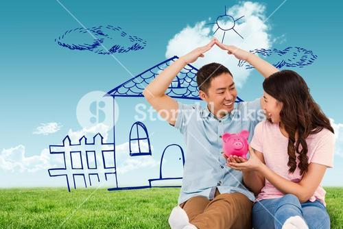 Composite image of happy young couple with piggy bak