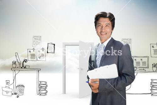 Composite image of confident estate agent standing at front door with clipboard