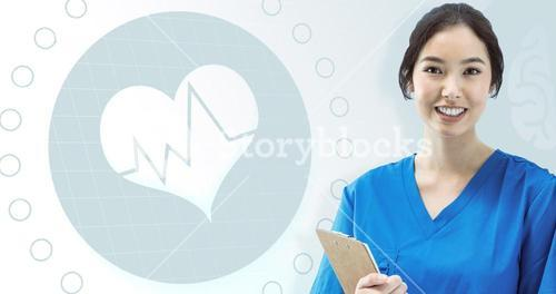 Composite image of asian nurse with stethoscope looking at the camera against a white screen