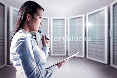 Composite image of thoughtful woman with pen on cheek holding notepad