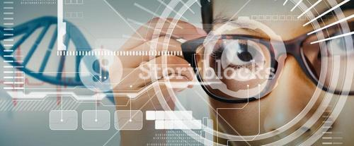 Composite image of close up view of a businesswoman holding her eyeglasses