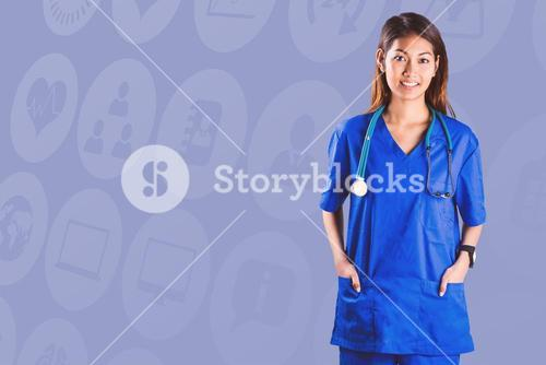 Composite image of asian nurse with hands in pocket