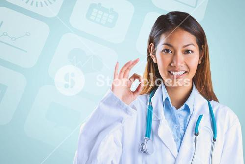 Composite image of asian doctor doing ok sign