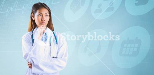 Composite image of focused asian woman thinking