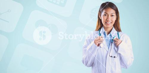 Composite image of asian doctor holding stethoscope
