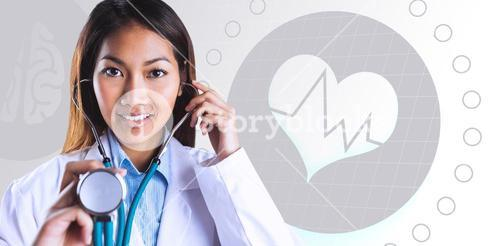 Composite image of asian doctor holding her stethoscope