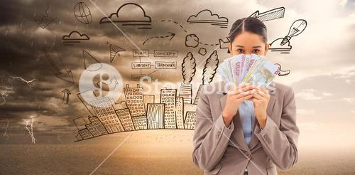 Composite image of portrait of a greedy businesswoman holding bank notes