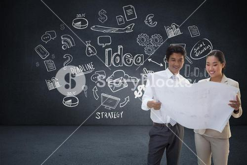 Composite image of estate agent looking at blueprint with potential buyer