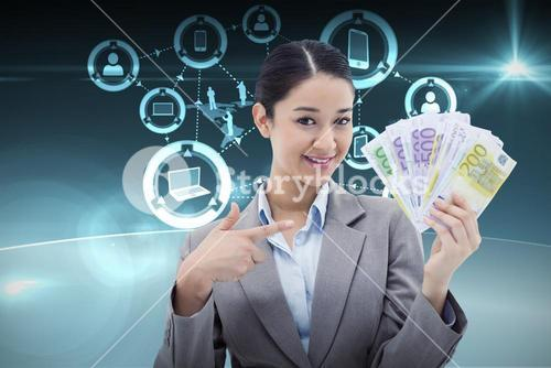 Composite image of smiling businesswoman holding bank notes