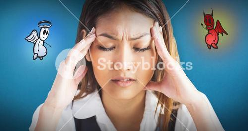 Composite image of nervous businesswoman holding her head