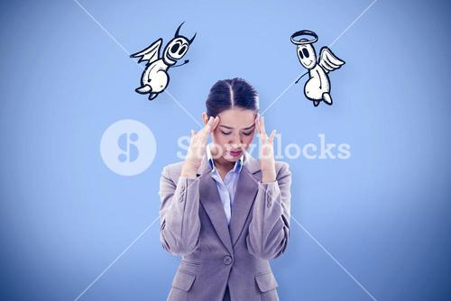 Composite image of portrait of a beautiful businesswoman having a headache