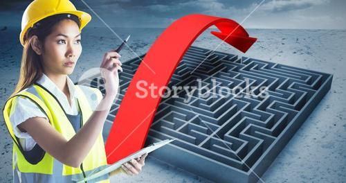 Composite image of architect woman with yellow helmet and plans