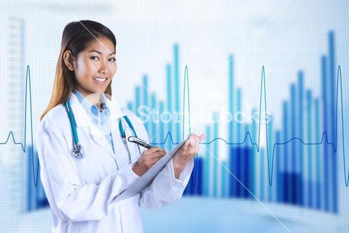 Composite image of asian doctor writing on files