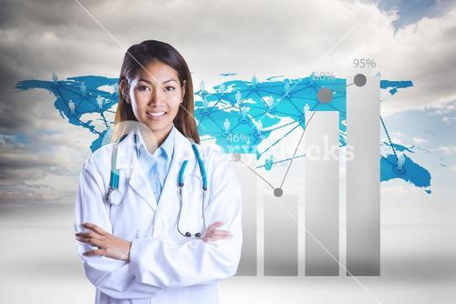 Composite image of asian doctor with arms crossed looking at the camera