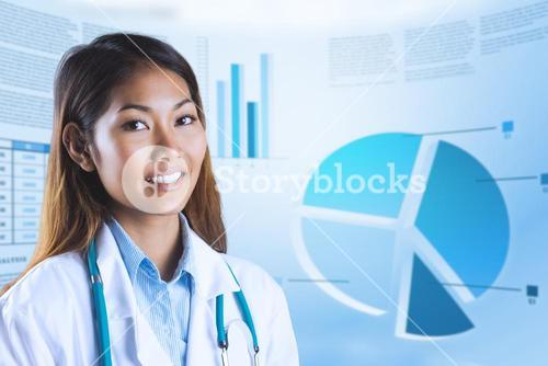Composite image of asian doctor with stethoscope looking at camera