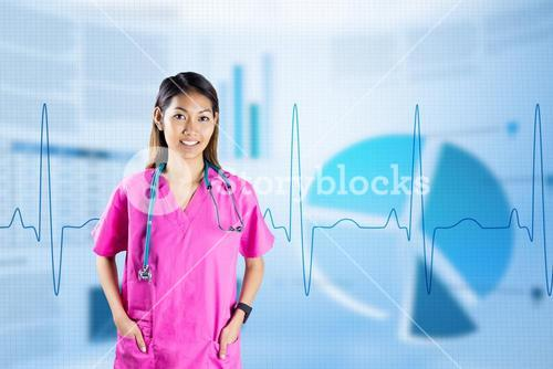 Composite image of asian nurse with stethoscope looking at the camera