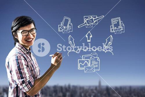 Composite image of creative businessman writing on sticky notes
