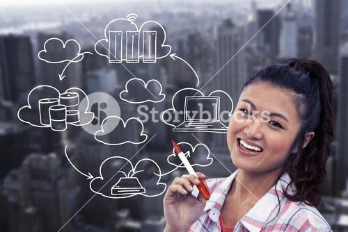 Composite image of smiling woman against wooden wall with notes on it