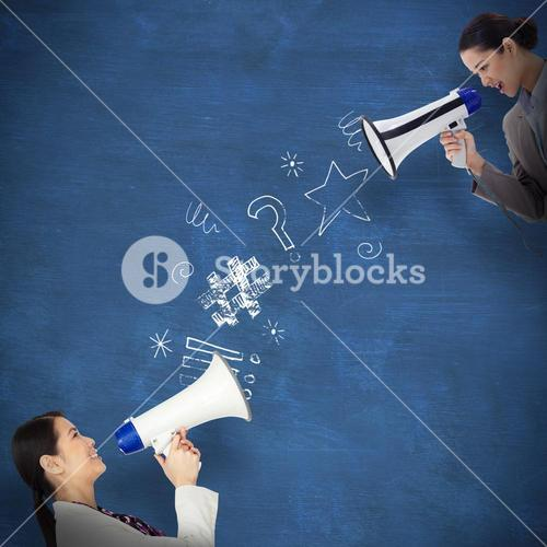 Composite image of portrait of a businesswoman shouting through a megaphone