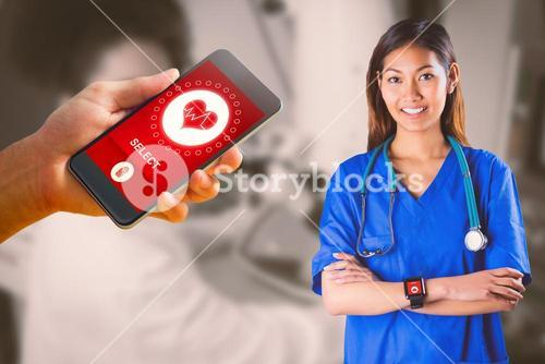 Composite image of asian nurse with stethoscope crossing arms