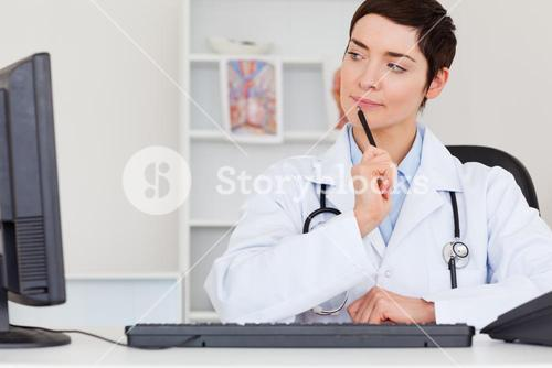 Thoughful female doctor