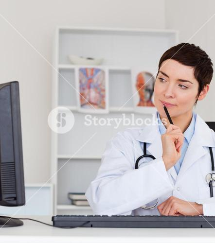 Portrait of a thoughful female doctor