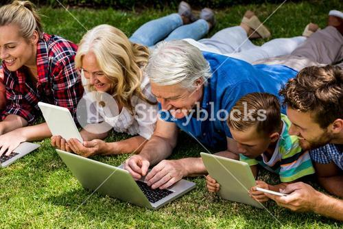 Family using technologies while relaxing at park