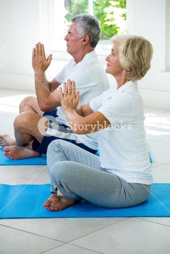 Side view of active senior couple performing yoga