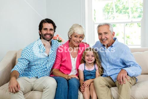 Portrait of family with grandparents
