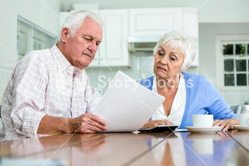 Happy couple with documents while sitting at table