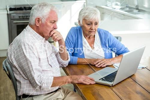 Serious senior couple using laptop