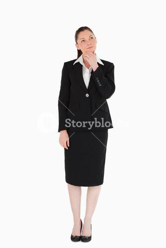 Charming female in suit posing