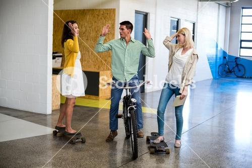 Team of colleague giving high five
