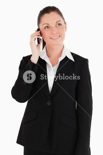 Gorgeous woman in suit on the phone
