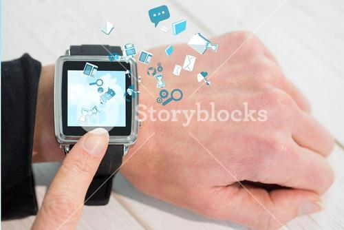 Woman using smartwatch with apps