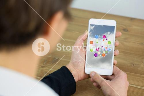 Woman using smartphone with apps