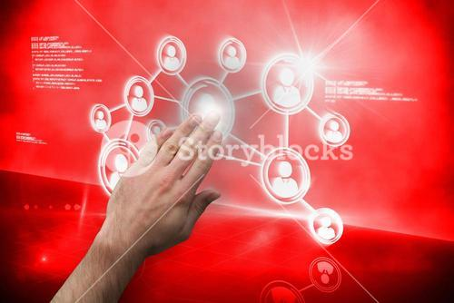 Hand touching interface on red screen