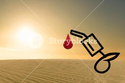 Composite image of arid desert of oil