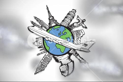 Composite image of global travel graphic