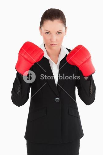 Charming woman wearing some boxing gloves