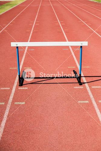 Hurdle on running track