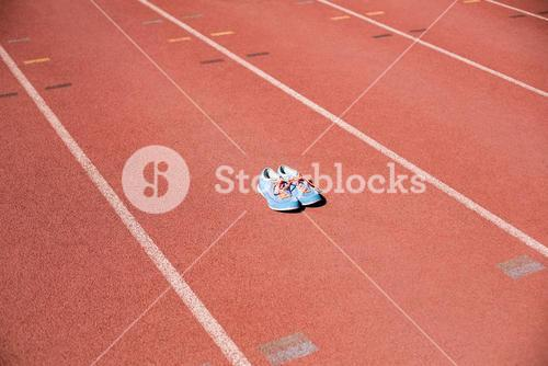 Sport shoes on running track