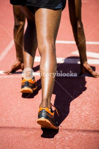 Athlete on a starting line about to run