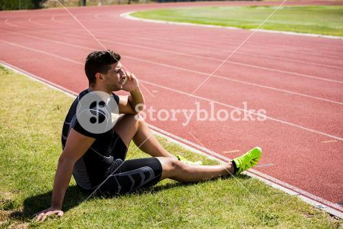 Athlete talking on the phone