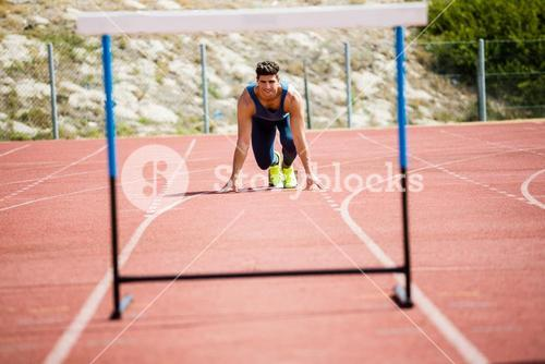 Athlete ready to jump a hurdle