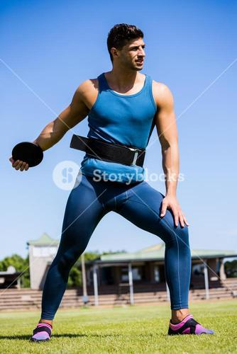 Athlete about to throw a discus
