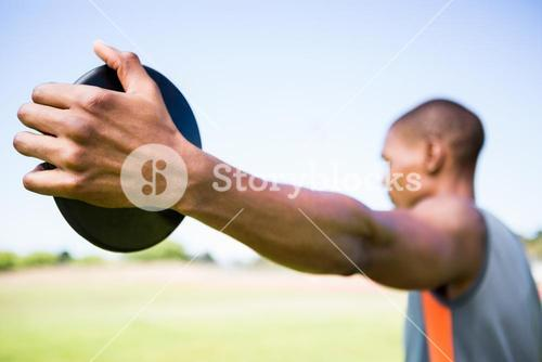 Athlete holding a discus