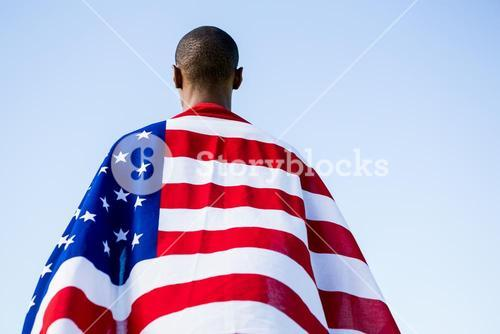 Athlete wrapped in american flag