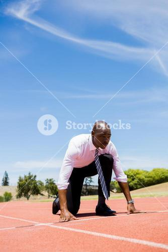Businessman ready to run