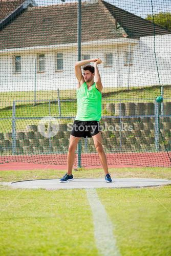 Athlete performing a hammer throw